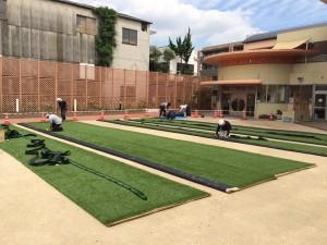 人工芝の下地 園庭