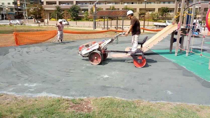 公園 ヘルシーグリーン敷設 防塵対策2