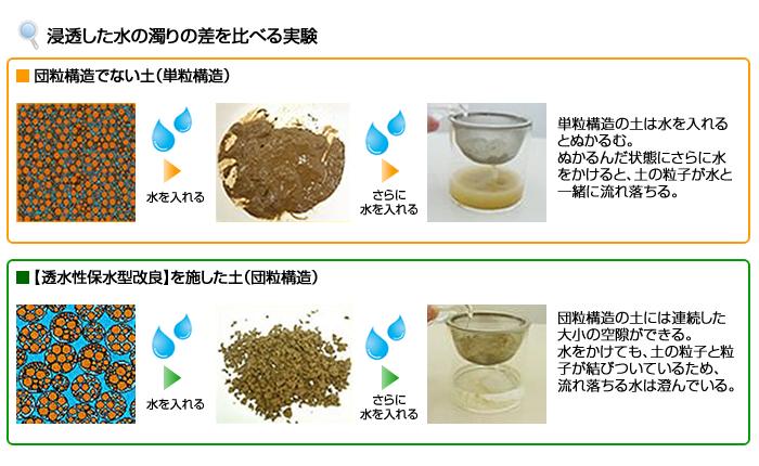浸透した水の濁りの差を比べる実験画像