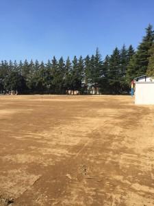 保水型土舗装学校グラウンド 改良工事 透水性