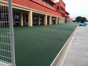 ゴムチップ舗装(カラー)学校運動場 完成画像