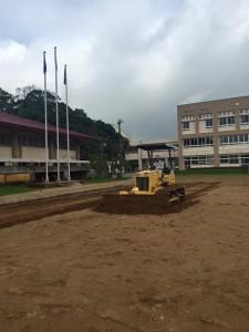 学校校庭 防塵対策工事 ヘルシーグリーン