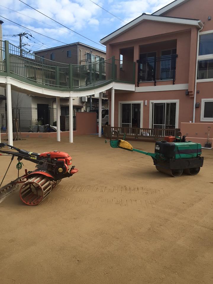 籠車輪 園庭整備工事 改良土