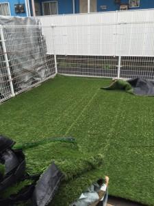 園庭 人工芝 設置事例 状況
