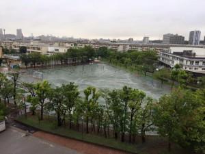 7月3日の千葉市内 豪雨中のグラウンド画像