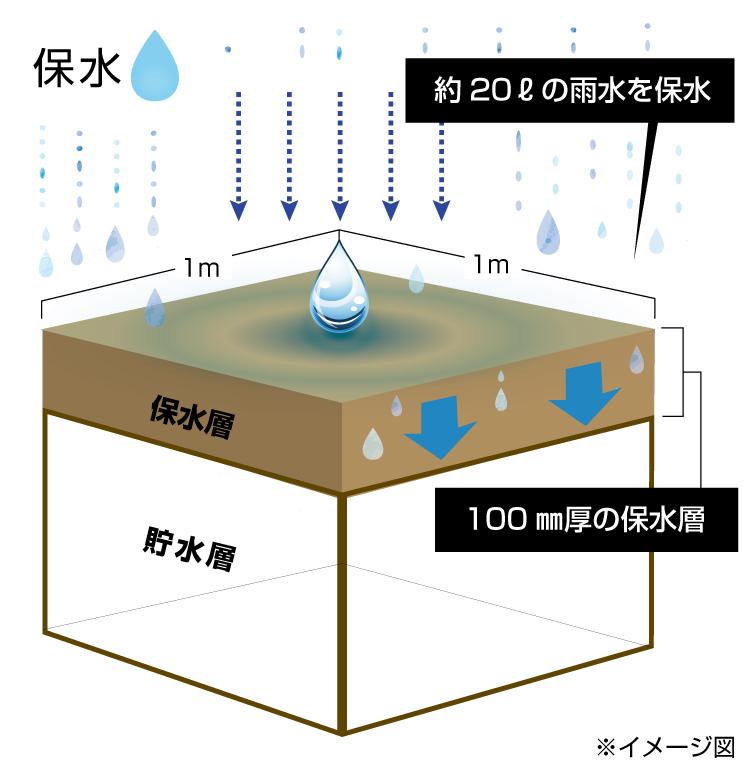 笑雨(わらう)システムの保水の仕組み図